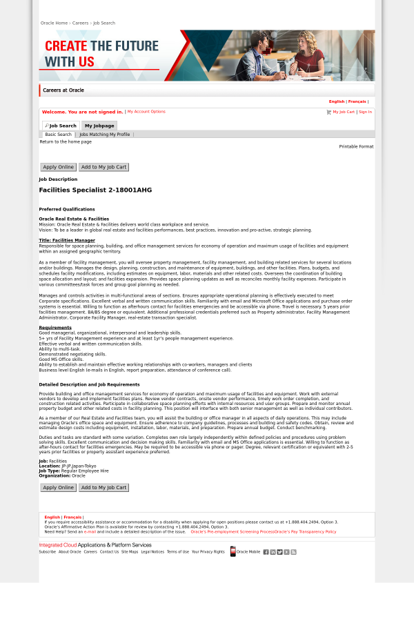 Facilities Specialist 2 Job At Oracle In Tokyo Japan 15267381