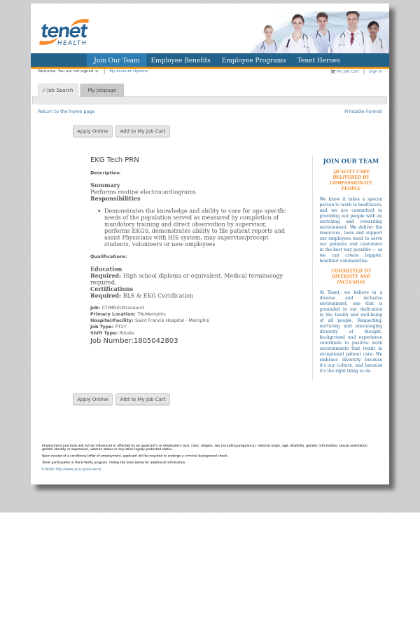 Ekg Tech Prn Job At Tenet Healthcare In Memphis Tn 15268533