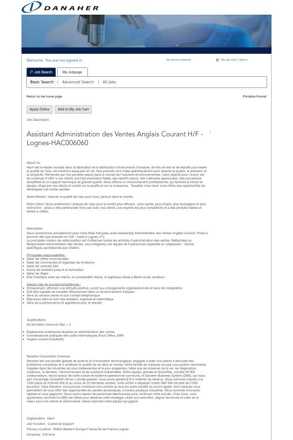 Assistant Administration Des Ventes Anglais Courant H F Lognes Job