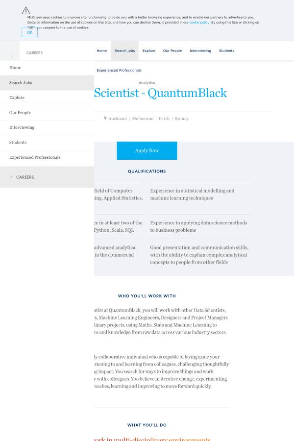 Data Scientist - QuantumBlack job at McKinsey & Company in