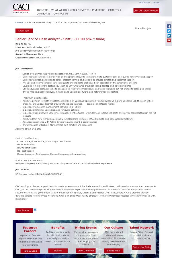 213767 Job At Caci 15327286 Tapwage Job Search