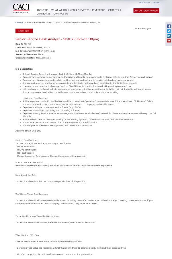 213766 Job At Caci 15327295 Tapwage Job Search