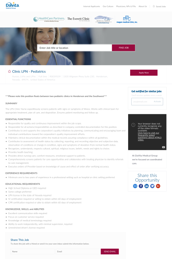 Clinic Lpn Pediatrics Job At Davita Medical Group In Henderson Nv