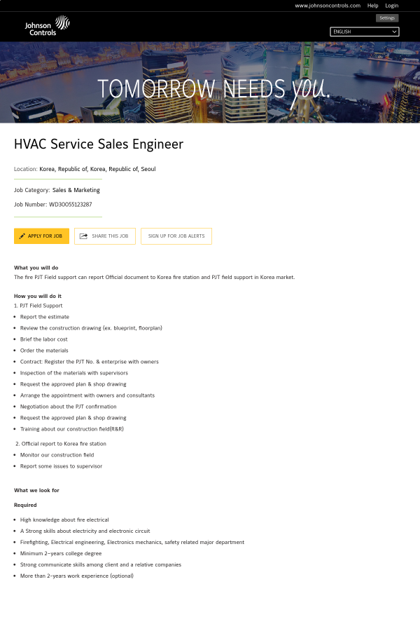 HVAC Service Sales Engineer job at Johnson Controls in Seoul, South