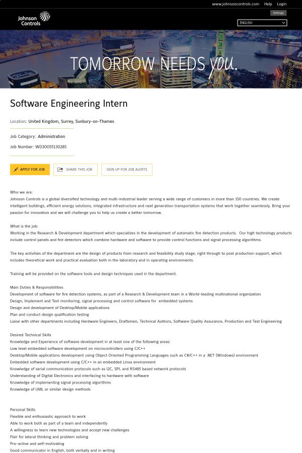 Software Engineering Intern Job At Johnson Controls In Sunbury On Thames United Kingdom 15348052 Tapwage Job Search
