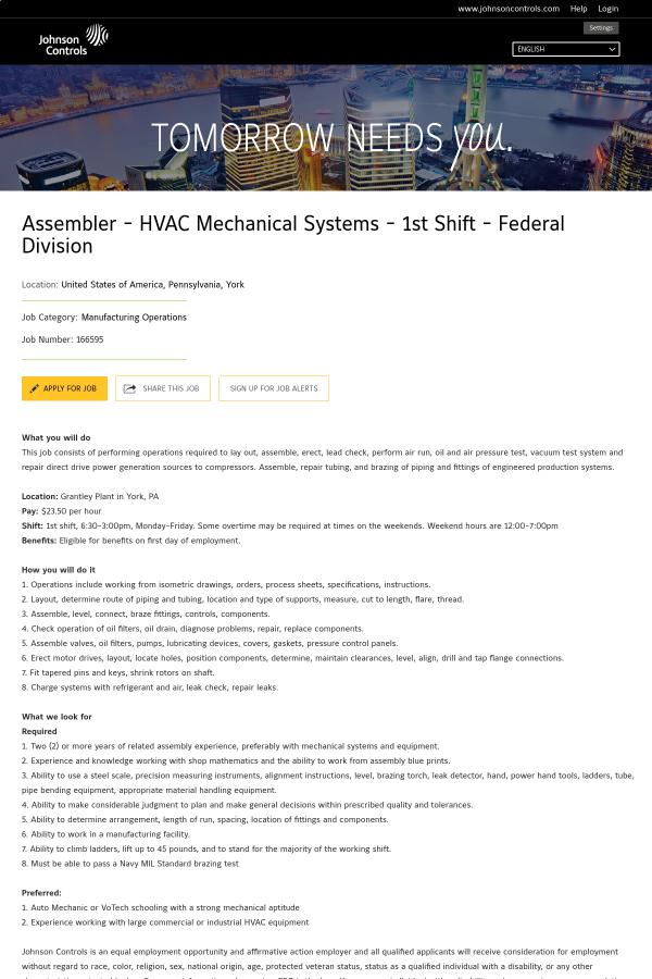 Assembler - HVAC Mechanical Systems - 1st Shift - Federal Division