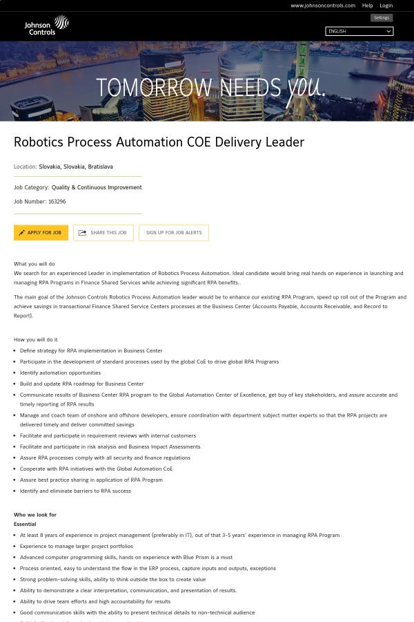 Robotics Process Automation COE Delivery Leader job at