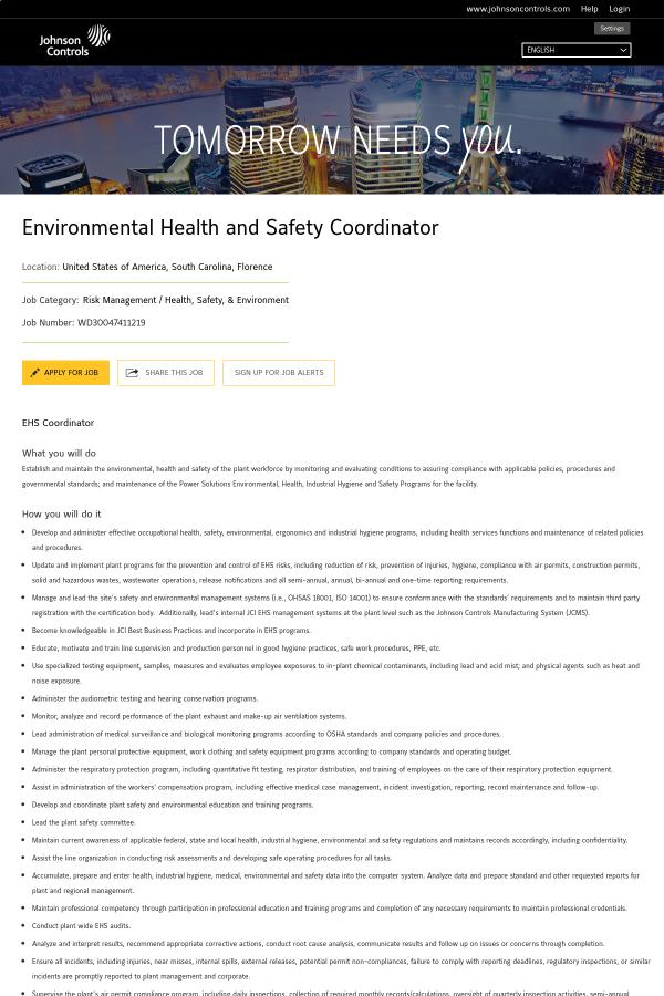 Environmental Health and Safety Coordinator job at Johnson