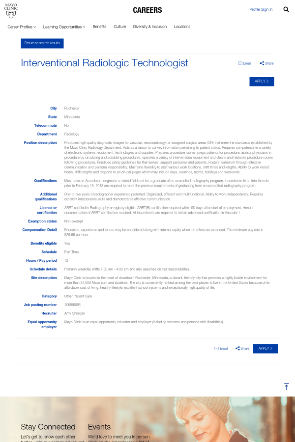 Interventional Radiologic Technologist Job At Mayo Clinic In