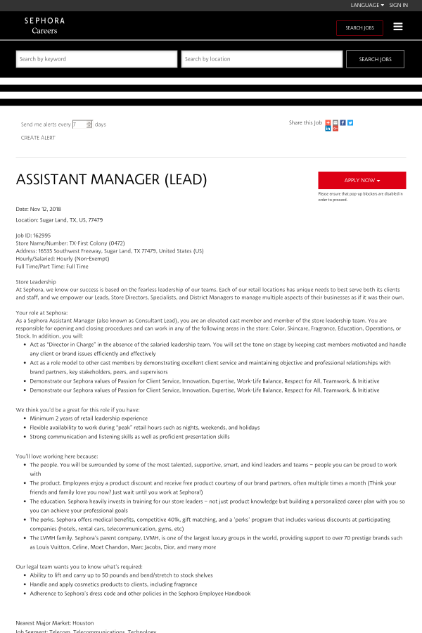 Assistant Manager Lead Job At Sephora In Sugar Land Tx 15364940