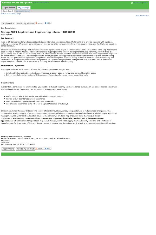 Spring 2019 Applications Engineering Intern job at ON