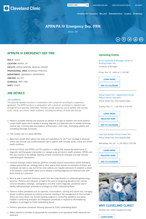 Aprn / PA IV Emergency Dep  PRN job at Cleveland Clinic in
