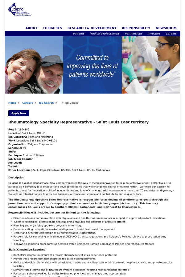 Rheumatology Specialty Representative Saint Louis East Territory