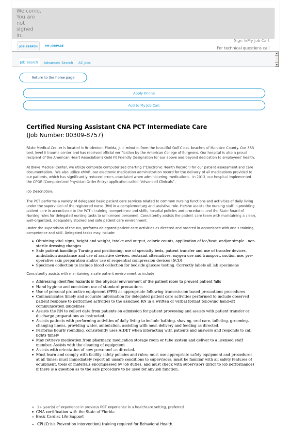 Certified Nursing Assistant Cna Pct Intermediate Care Job At Hca