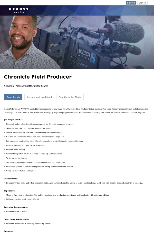 chronicle field producer job at hearst television in needham ma
