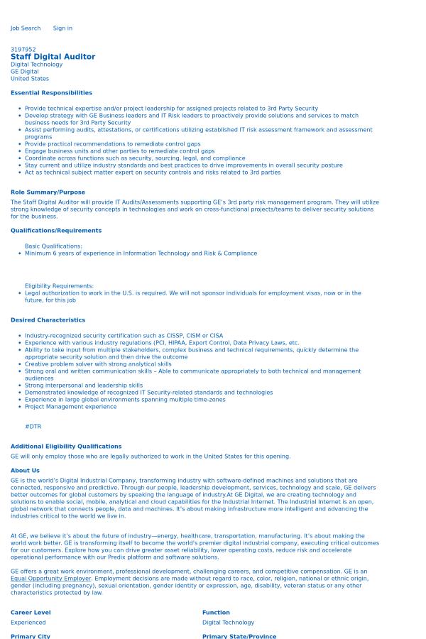 Staff Digital Auditor job at General Electric in Glen Allen