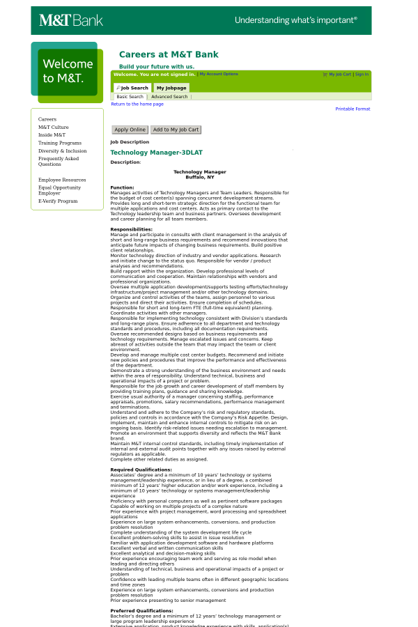 Technology Manager Job At M T Bank In United States 15398895