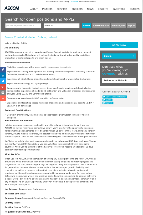 3895f460ed Senior Coastal Modeller job at AECOM Technology Corporation in ...