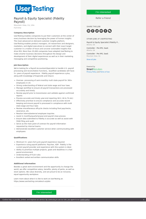 payroll equity specialist fidelity payroll job at usertesting in