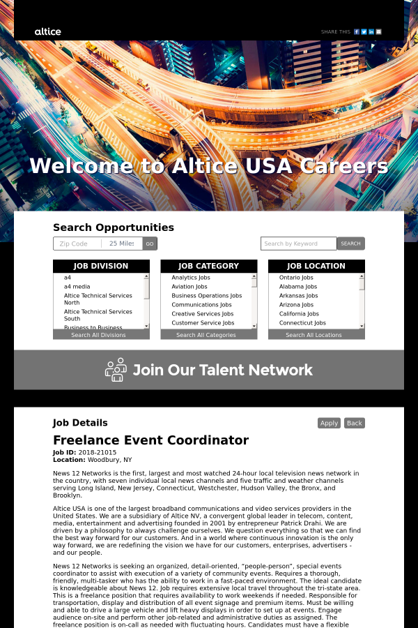 Event Coordinator job at Altice USA in Woodbury, NY