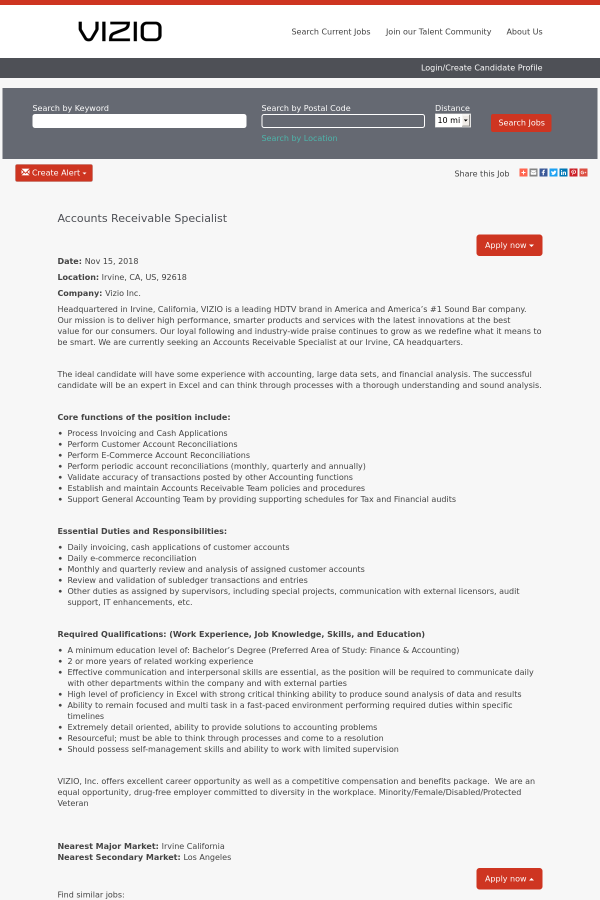 accounts receivable specialist job at vizio in irvine ca 15410069