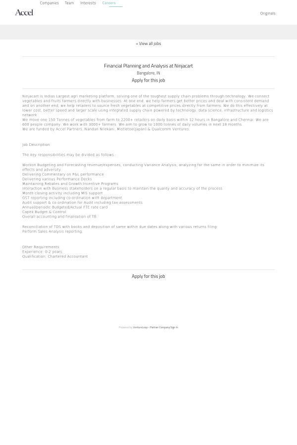 Financial Planning and Analysis job at Ninjacart in