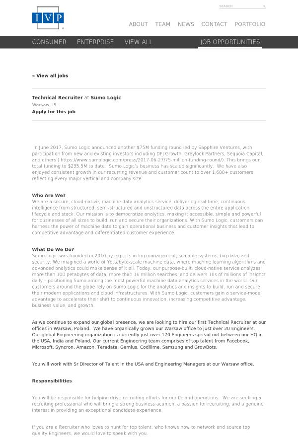 technical recruiter job at sumo logic in warsaw poland 15419618