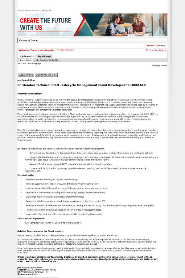 Senior Member Technical Staff Lifecycle Management Cloud