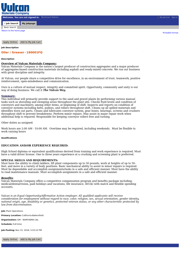 Oiler / Greaser job at Vulcan Materials Company in