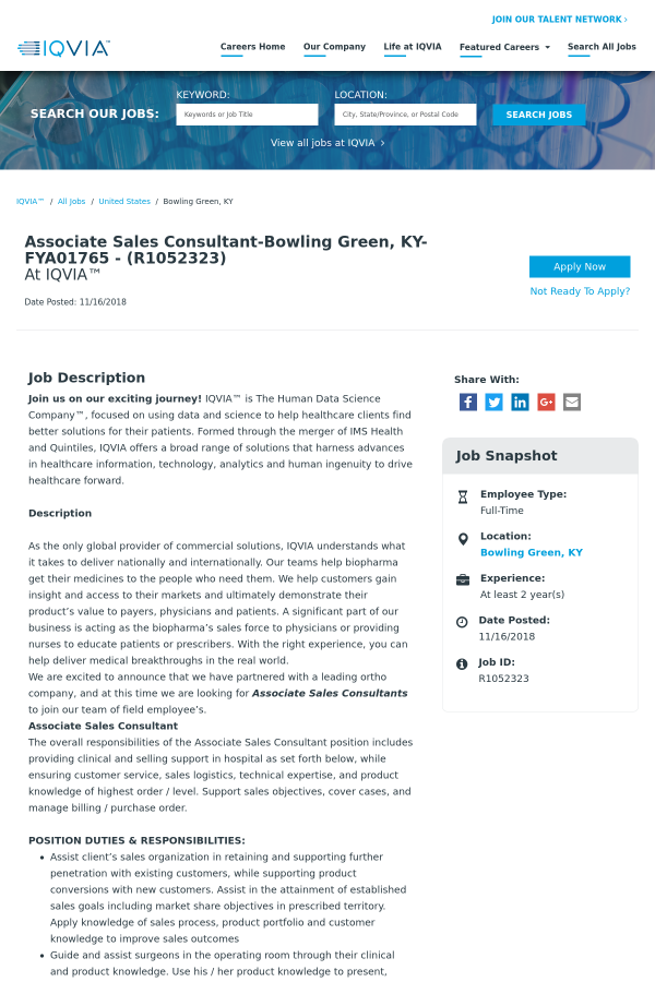 Associate Sales Consultant Bowling Green Ky Fya01765 Job At