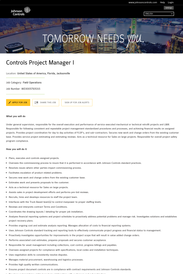 Controls Project Manager I job at Johnson Controls in Jacksonville