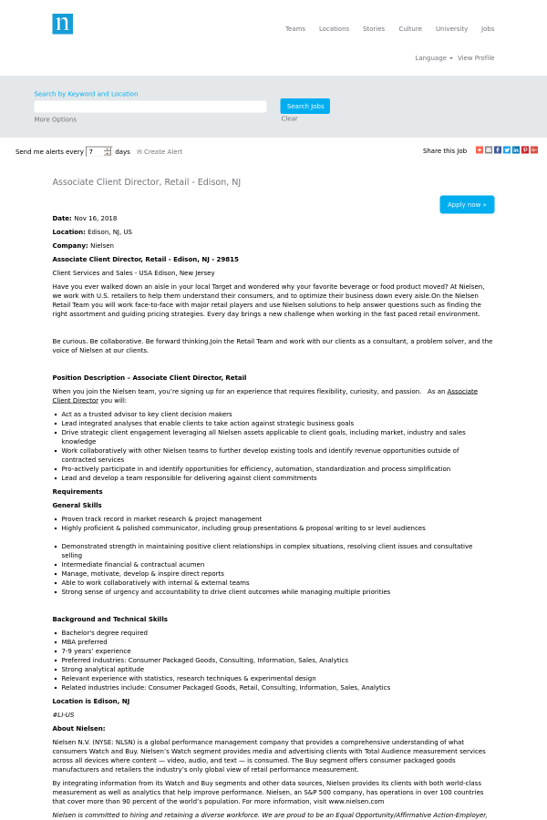 Associate Client Director Retail Job At The Nielsen Company In