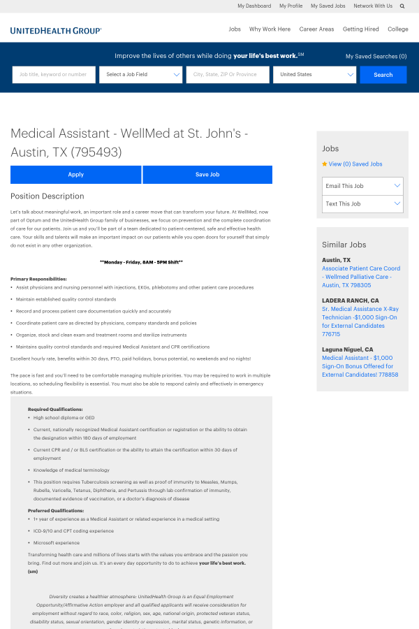 Medical Assistant Job At Unitedhealth Group In Austin Tx 15445077