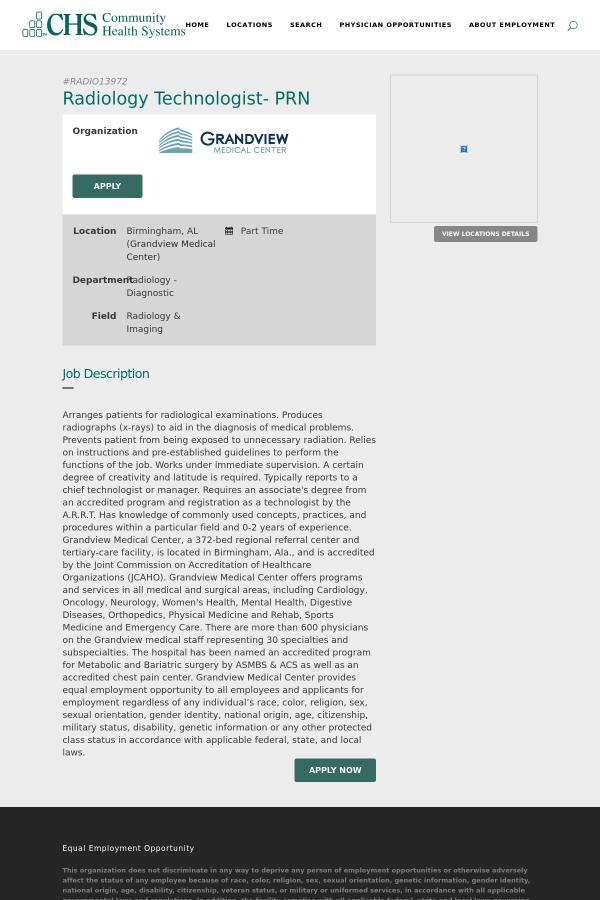 Radiology Technologist - PRN job at Community Health Systems