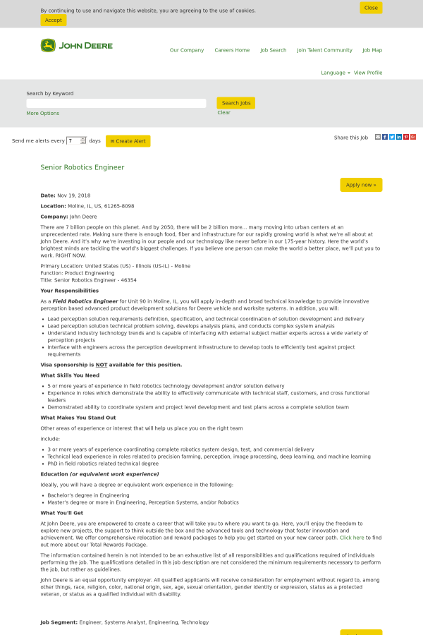 Senior Robotics Engineer Job At John Deere In Moline Il 15462554
