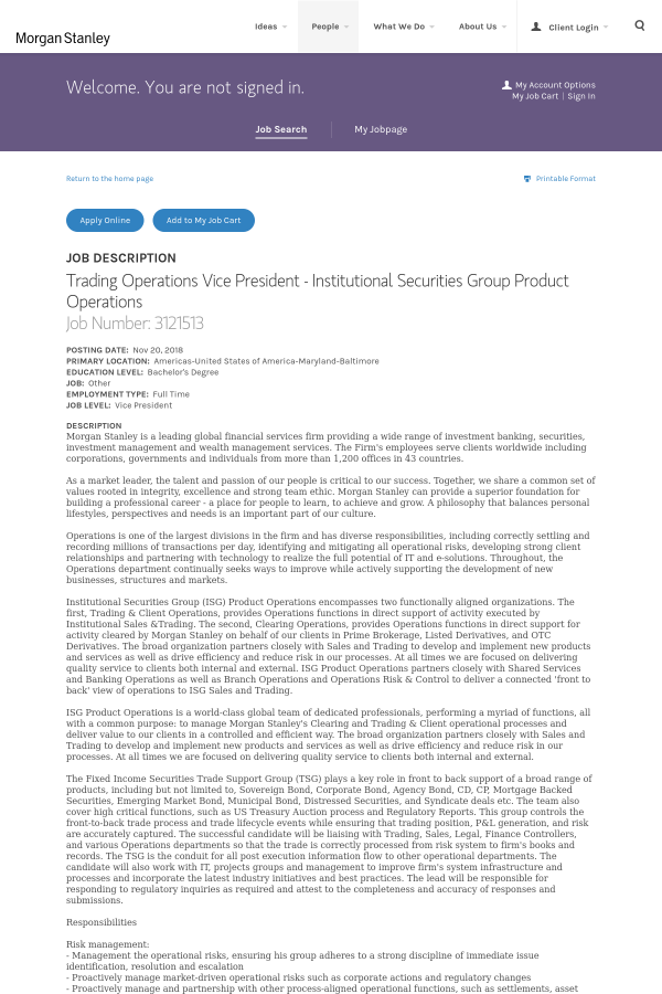 Trading Operations Vice President - Institutional Securities