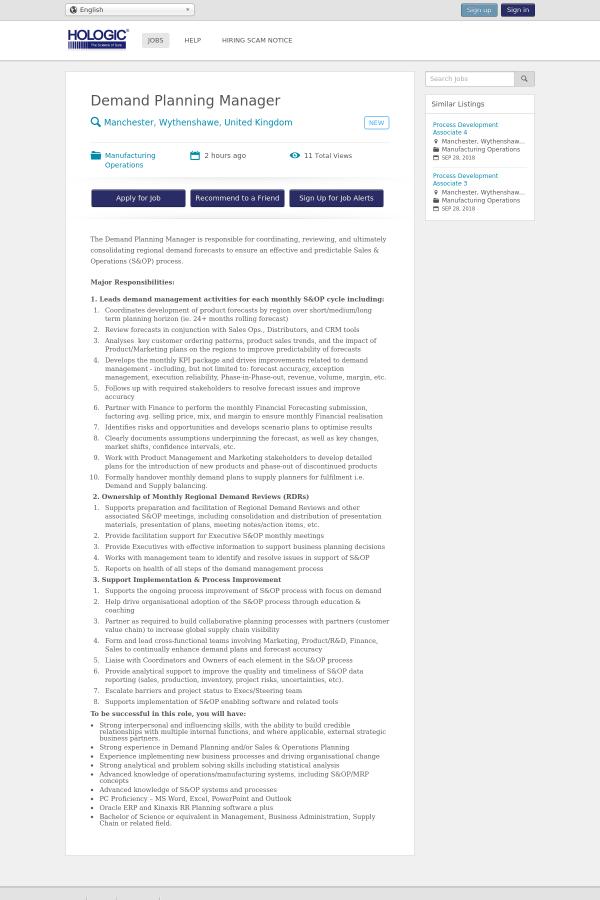 Demand Planning Manager Job At Hologic In Manchester United Kingdom