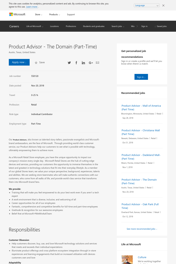 product advisor the domain job at microsoft in austin tx