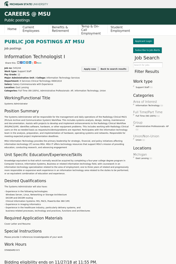 Information Technologist I job at Michigan State University in East ...