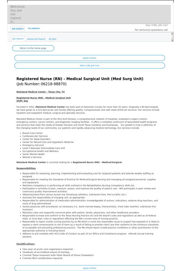 Registered Nurse Job At Hca Holdings Inc In Texas City Tx
