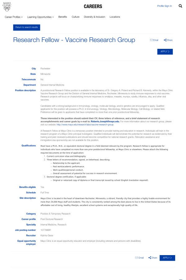 Research Fellow - Vaccine Research Group job at Mayo Clinic in