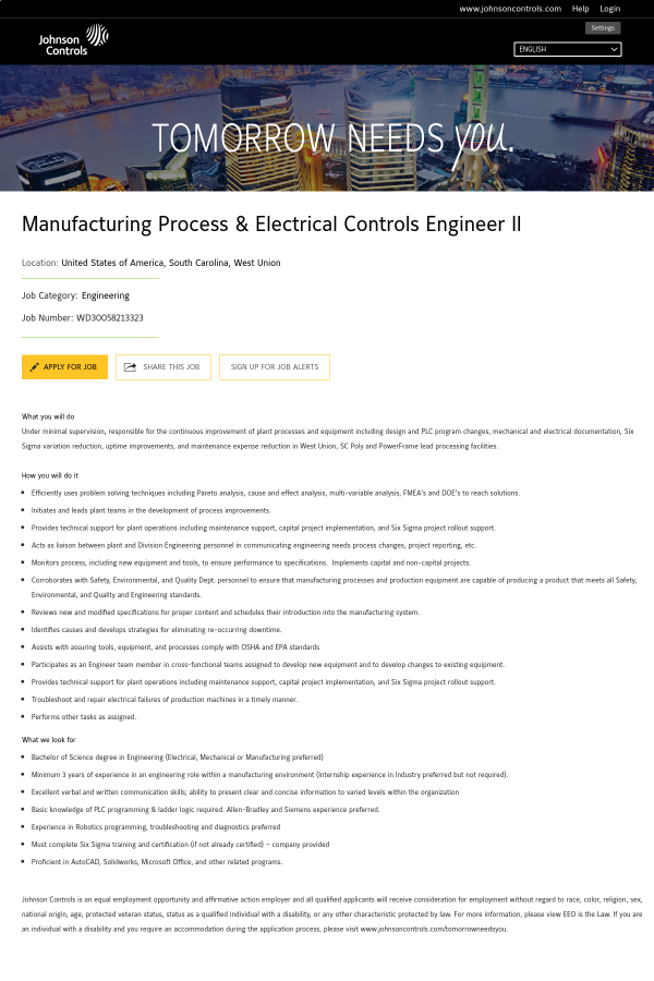 Manufacturing Process & Electrical Controls Engineer II job at