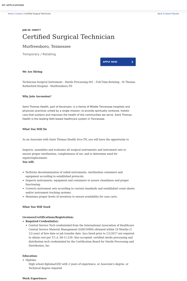 Certified Surgical Technician Job At Ascension Health In