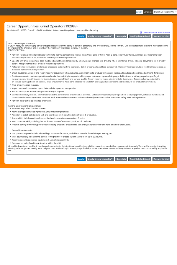 Grind Operator job at The Timken Company in Lebanon, NH