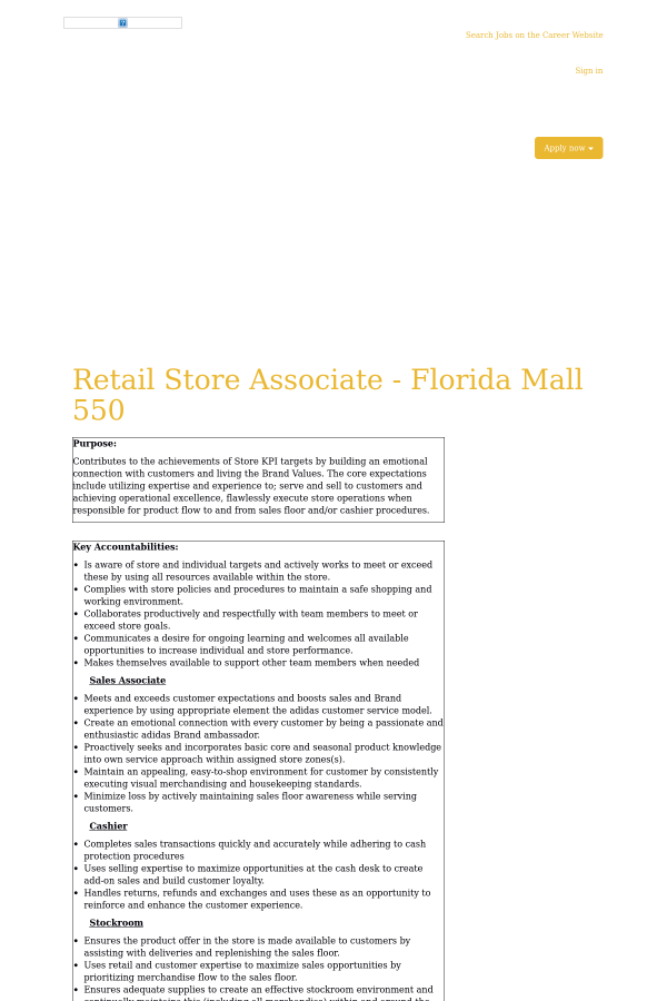 Retail Store Associate Florida Mall Job At Adidas In Orlando Fl