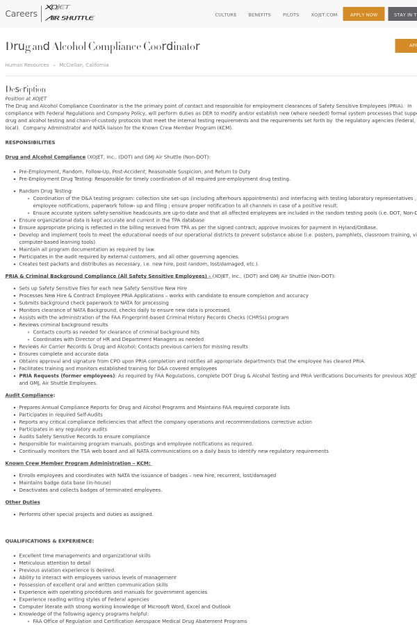 drug and alcohol compliance coordinator job at xojet in california