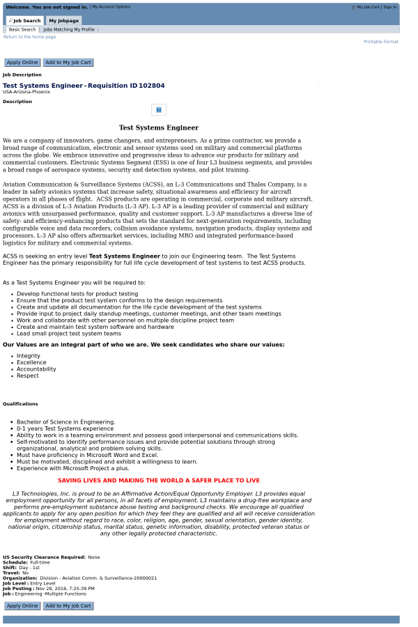test systems engineer job at l3 technologies in phoenix az