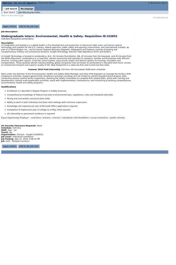 Undergraduate Intern Environmental Health Safety Job At L3