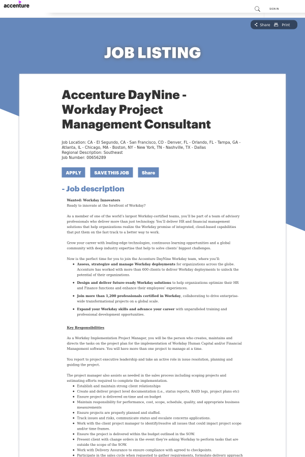 Accenture Daynine Workday Project Management Consultant Job At