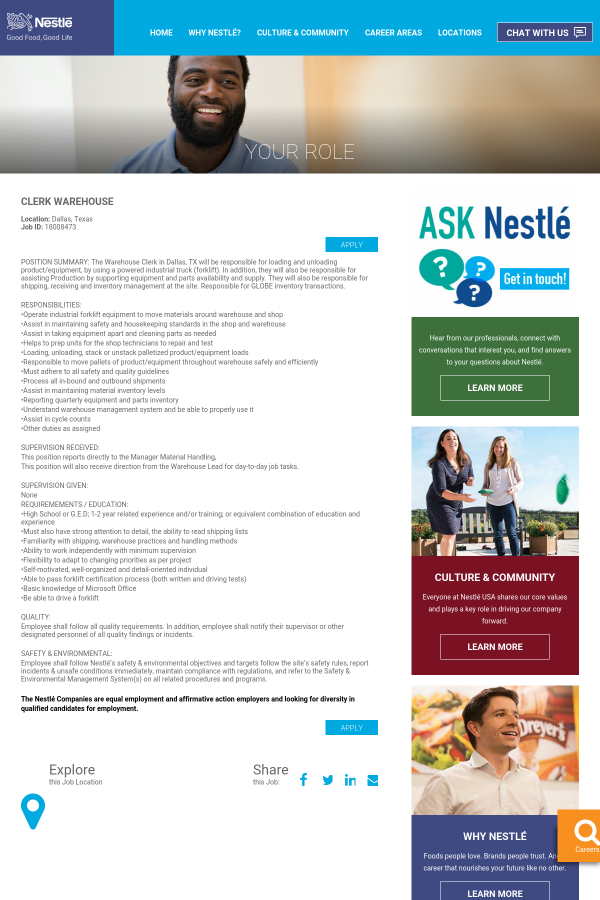 f77f6889500 Clerk Warehouse job at Nestle in Dallas